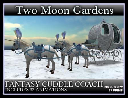 FANTASY CUDDLE COACH - With 4 White Unicorns. Horse Drawn Carriage