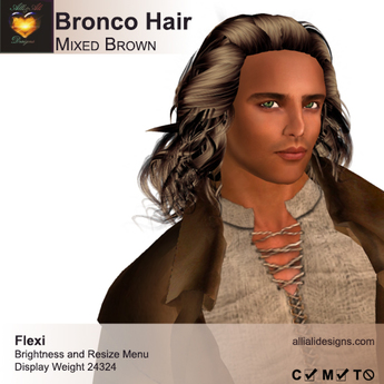 A&A Bronco Hair Mixed Brown.  Mid-length rugged mens hairstyle. FUNCTIONAL DEMO