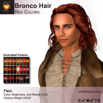 A&A Bronco Hair Red Colors Pack.  Mid-length rugged mens hairstyle