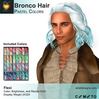 A&A Bronco Hair Pastel Colors Pack.  Mid-length rugged mens hairstyle
