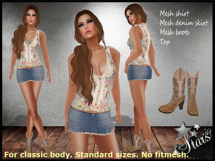 """*Stars*Fashion* Classic body clothes - Outfit with Shirt, Skirt and Boots - """"Country flowers"""""""