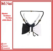 MiNat Hipster Necklace Tie-Bow white-black