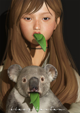 [Black Bantam] Little Koala Buddy & Leaves