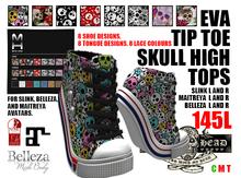 Mesh Head - Eva Tip Toe Skull High Tops - MAITREYA / SLINK / BELLEZA