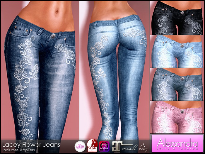 ALESSANDRA - Lacey Flower Low Rise Jeans (6 Colors)