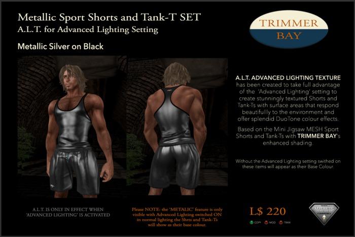Metallic Sport Shorts and Tank-T SET - Silver on Black  ADVANCED LIGHTING TEXTURE