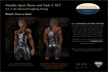Metallic Sport Shorts and Tank-T SET - Silver on Black  ADVANCED LIGHTING TEXTURE