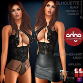 Wild Orchid Edge: Silhouette Dress Black with appliers