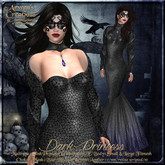 {AS} Dark Princess Fitted Mesh Gown: Maitreya, Slink Physique, Hourglass, eBODY; Omega; Witch, Vampire, Halloween, BoM