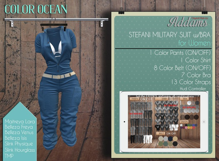 Addams - Military Suit with Bra - Stefani #Ocean