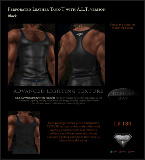 Perforated Leather Tank-T in Black with TBBlue Trim - includes an ADVANCED LIGHTING TEXTURE version