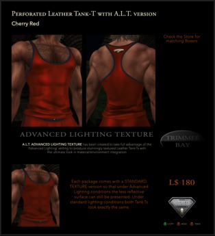 Perforated Leather Tank-T in Cherry Red with TBBlue Trim - includes an ADVANCED LIGHTING TEXTURE version