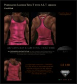 Perforated Leather Tank-T in Coral Pink with TBBlue Trim - includes an ADVANCED LIGHTING TEXTURE version