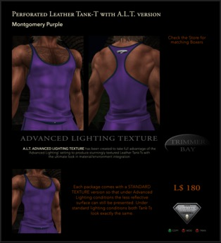 Perforated Leather Tank-T in Montgomery Purple with TBBlue Trim - includes an ADVANCED LIGHTING TEXTURE version