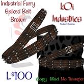 Industrial Furry - Cracked Spike Belt - Brown