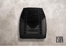 ISON - lace-up mesh skirt (black)