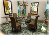 Dinner Party Dining Set for 4: Round Travertine & Glass w Wicker Parsons Mesh