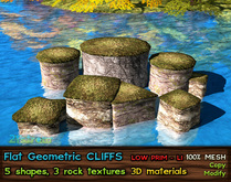 21strom Flat Geometric Cliffs - 5 shapes + 3 rock textures