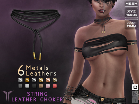 **RE** Leather String Choker *MESH* (**LUX** Collection)