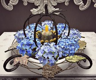 CJ Autumn Table Wreath with blue hydrangea ~ c + m ~