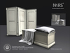 N4RS St James Bedroom Deco Elements - Chalk and Grey versions of a Mesh Room divider and Foot-end Bench