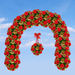 red rose arch and  red rose ball decortions