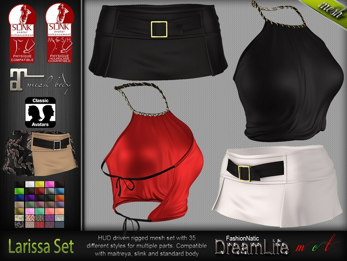 Larissa Set Top Skirt MESH - Maitreya Lara, Slink Physique Hourglass - HUD - DreamLife - FashionNatic