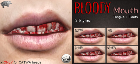 Mad' - Bloody Mouth [Tongue+Teeth] [CATWA APPLIER]