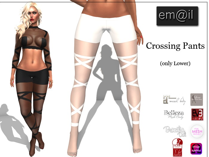 em@il-Crossing Pants-White