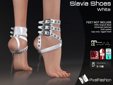:)(: Slavia Shoes - White  - Maitreya lara - slink high feet - EVE body mesh