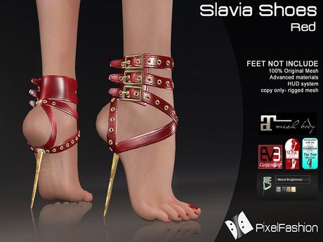:)(: Slavia Shoes - Red  - Maitreya lara - slink high feet - EVE body mesh