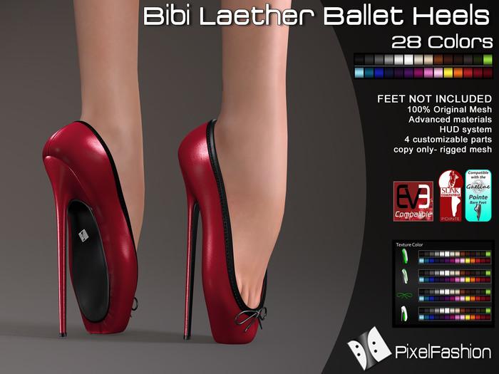 50% OFF :)(: Bibi Leather Ballet Heels - All Colors Slink Pointe Feet - Gaeline Pointe Bare Feet - EVE Body mesh