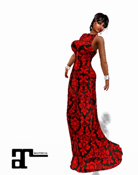 XK Maitreya Brocade Gown Blood Red
