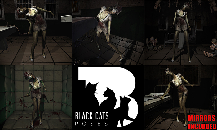 Black Cats poses - Creepy nurse FATPACK + mirrors