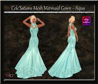Cele'Sations Mermaid Mesh Gown ~ Aqua [ Maitreya Belleza TMP Eve Slink ]