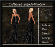 [CS] Spider Web Mesh Halloween Gown [ Maitreya Belleza TMP Slink Eve ]