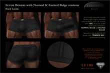 SUEDE BOXERS in Black suede with matching trim, includes NORMAL & EXCITED BULGE versions