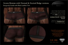 SUEDE BOXERS in Burgundy suede with Black Leather Trim, includes NORMAL & EXCITED BULGE versions