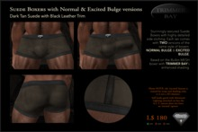 SUEDE BOXERS in Dark Tan suede with Black Leather Trim, includes NORMAL & EXCITED BULGE versions