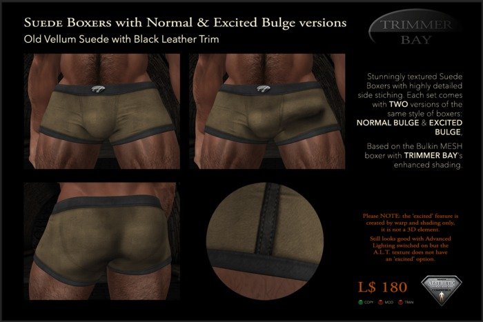 SUEDE BOXERS in Old Vellum suede with Black Leather Trim, includes NORMAL & EXCITED BULGE versions