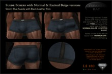 SUEDE BOXERS in Storm Blue suede with Black Leather Trim, includes NORMAL & EXCITED BULGE versions