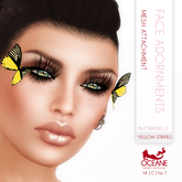 Limited item: Oceane - Butterflies 2 Face Adornments - Yellow Stripes