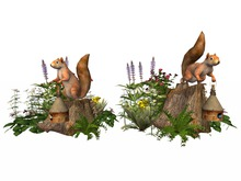 MSD - Squirrel Thieves Stump Gardens - Set of Two (8 LI) C/M