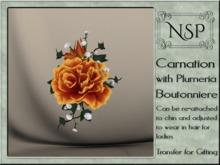 NSP Carnation & Plumera Boutonniere - Autumn Sun
