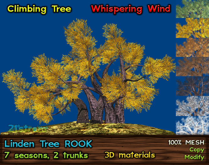 Linden Tree [ROOK] - All Seasons, 14 combinations, Climbing Tree w/ Whispering Wind
