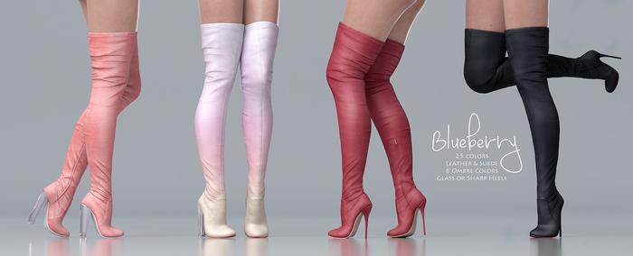 Blueberry - Craven - Thigh High Boots - Maitreya, Belleza (All), Slink Physique Hourglass - ( Mesh ) Full Pack