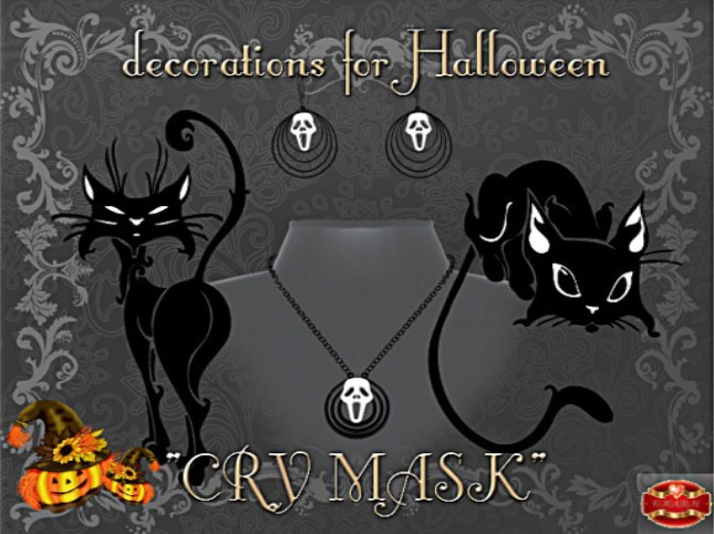 "!.:CHARM:.EARRINGS  NECKLACE Halloween ""CRY MASK"""