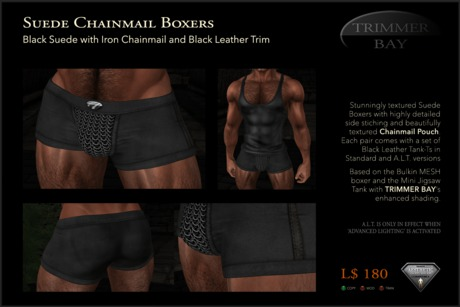 Suede Boxers in Black with Iron Chainmail Pouch and Black Leather Trim