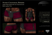 Suede Boxers in Legion Red with Iron Chainmail Pouch and Black Leather Trim