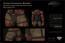 Suede Boxers in Old Vellum with Bronze Chainmail Pouch and Black Leather Trim